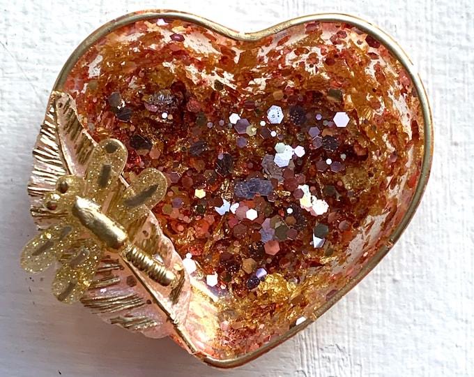 Trinket Dish - Heart Shaped Bowl - Trinket Tray Dish - Rose Gold Heart Dish - Firefly - Feather