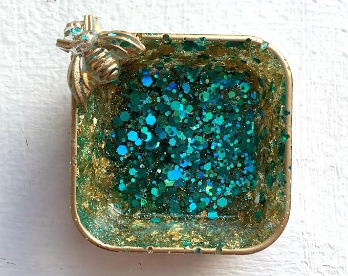 Trinket Dish   Bee Kind Resin Jewelry Tray   Turquoise Jewelry Tray   Bee Storage Box   Jewelry Storage   Ring Holder Dish   Bee Decor
