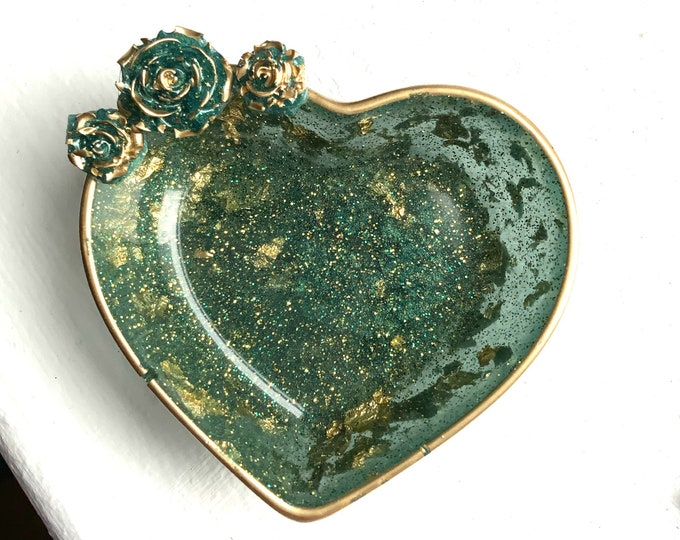 Trinket Dish   Heart Shaped Resin Storage Box   Jade Green Resin Box   Jewelry Storage   Flower Charm Trinket Box   Jade Green Resin Dish  