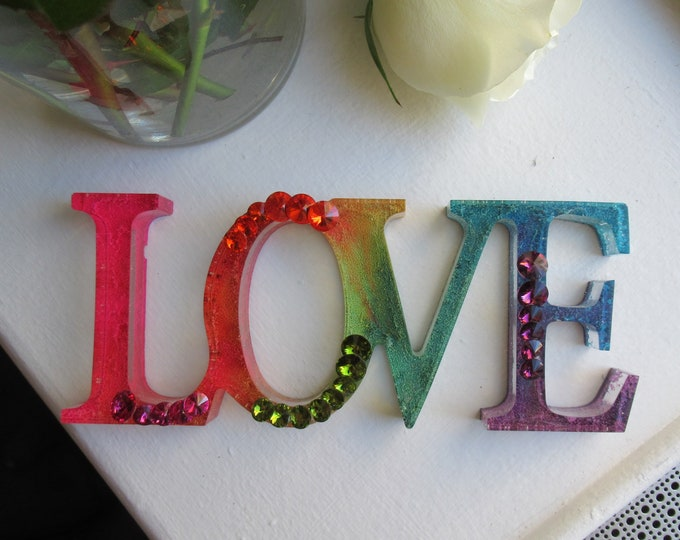Resin Love Sign | Resin Love | Rainbow| Crystal Love | Valentine's Day | Valentine's Day Gift