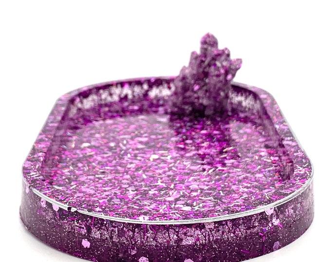 Crystal Lover Purple Resin Trinket Dish | Purple Jewelry Dish | Jewelry Storage | Ring Holder Dish | Purple Resin Dish | Purple Room Decor