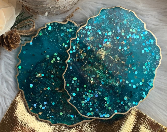 Turquoise Resin Coaster Set with Gold Trim | Teal Coasters | Unique Wedding Gift | Gold Leaf Decor | Resin Coaster | Holiday Decor