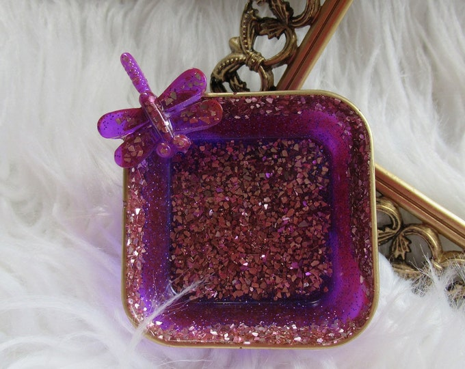 Trinket Dish | Resin Jewelry Tray | Purple Jewelry Tray | Jewelry Storage | Ring Holder Dish | Trinket Dish Resin | Dragon Fly Gifts