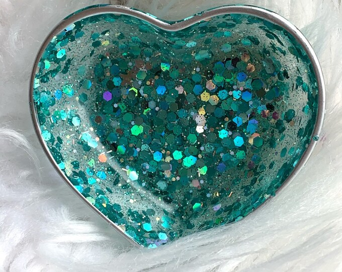 Trinket Dish | Aqua Heart Shaped Resin Storage Box | Aqua Resin Box | Jewelry Storage | Aqua Trinket Box | Aqua Resin Dish | Aqua Decor |