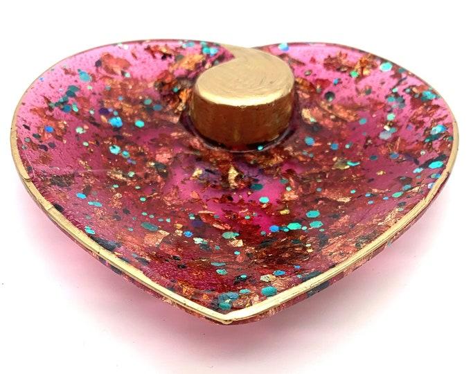 Trinket Dish - Ring Dish - Magenta and Turquoise Heart Bowl Dish - Heart Shaped Bowl - Trinket Tray Dish