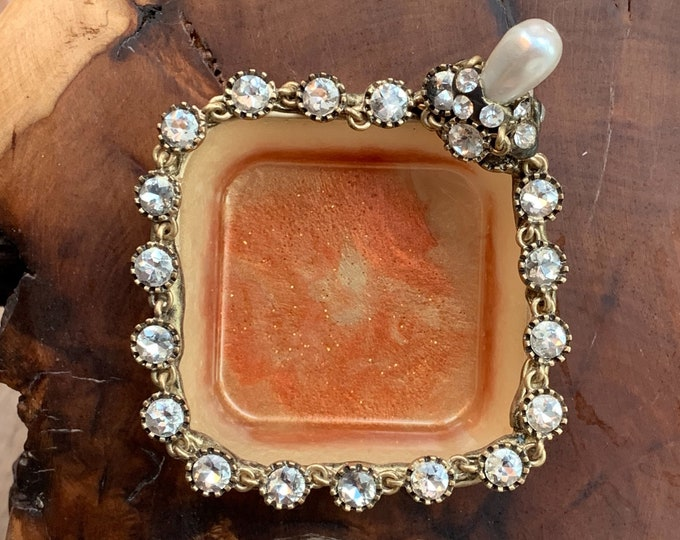 Trinket Dish | Crystal Resin Jewelry Tray | Gold Jewelry Tray | Pearl Storage Box | Jewelry Storage | Ring Holder Dish