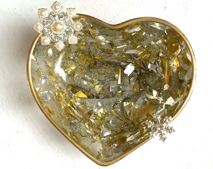Trinket Dish - Jewelry Dish - Cottagecore - Ring Holder Dish - Engagement Ring Dish - Rhinestone Trinket Tray - Winter Decor - Holiday Decor
