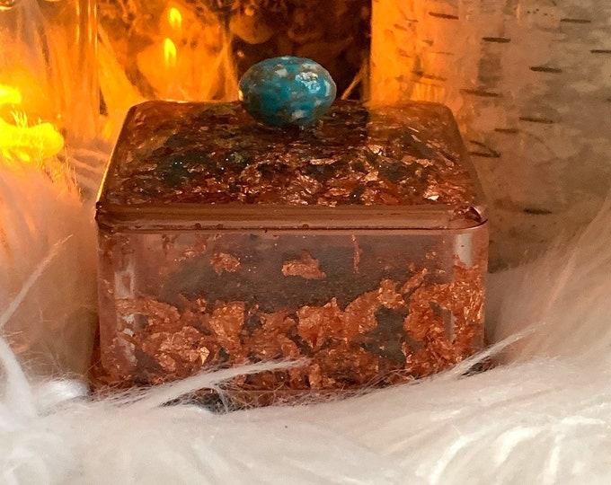 Copper Jewelry Box   Copper and Turquoise Jewelry    Jewelry Storage   Resin Jewelry Box     Decor   Trinket Dish Lid   Southwestern Decor