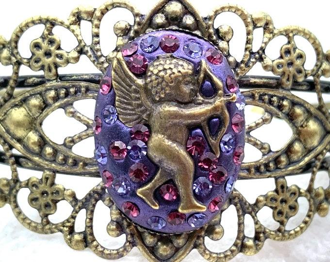 Swarovski Crystal and Resin Cupid Cuff Bracelet | Cupid Cuff Bracelet | Swarovski Crystal Bracelet | Resin Cuff Bracelet