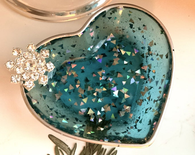 Trinket Dish | Heart Shaped Resin Storage Box | Holiday Jewelry Box | Jewelry Storage | Snowflake Charm Trinket | Turquoise Resin Dish |