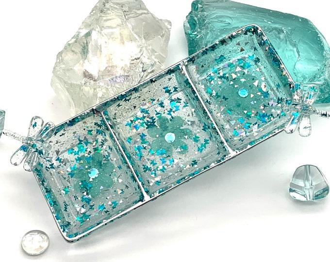 Aqua Floral and Dragonfly Resin Candy Dish | Aqua Resin Dish | Jewelry Storage | Aqua Resin Tray | Aqua Floral Dish | Aqua Room Decor