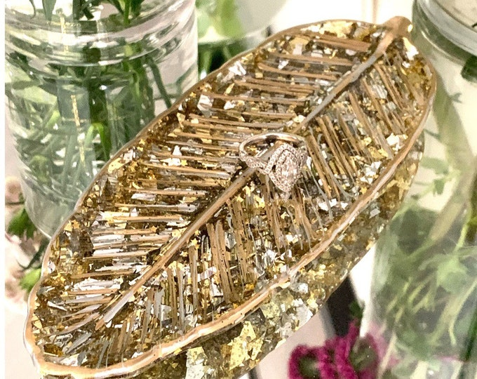 Gold and Silver Resin Leaf Dish   Trinket Dish   Holiday Decor   Housewarming Gift   Desk Accessory