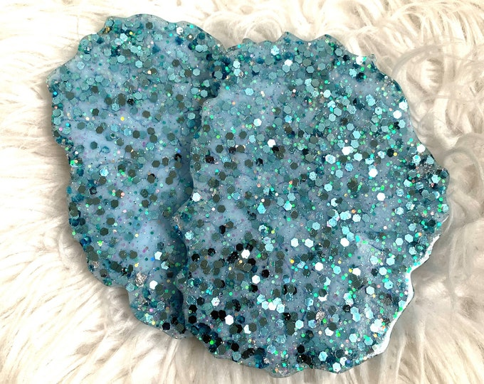 Turquoise Resin Coaster Set | Teal Coasters | Unique Wedding Gift | Silver Leaf Decor | Resin Coaster | Spring Decor