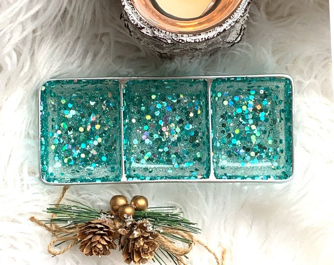 Turquoise and Silver Trinket Dish - Jewelry Dish - Turquoise Ring Dish - Ring Holder Dish - Holiday Decor