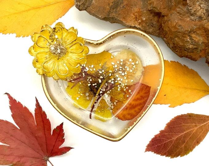 Trinket Dish - Jewelry Dish - Cottagecore - Ring Holder Dish - Flower Dish - Botanical Trinket Tray - Fall Decor - Thanksgiving Decor