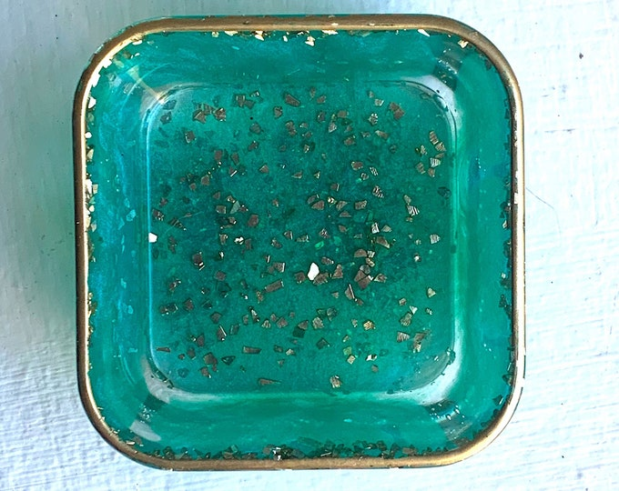 Trinket Dish | Resin Jewelry Tray | Teal Jewelry Tray | Jewelry Storage | Ring Holder Dish | Trinket Dish Resin | Easter Gift