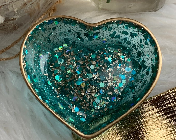 Trinket Dish | Aqua Gold Heart Shaped Resin Storage Box | Aqua Resin Box | Jewelry Storage | Aqua Trinket Box | Aqua Resin Dish | Aqua Decor