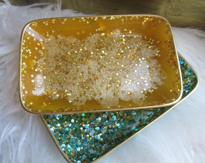 Trinket Dish - Rectangle Shaped Bowl - Trinket Tray Dish - Turquoise and Gold Trinket Dish - Star Soap Dish