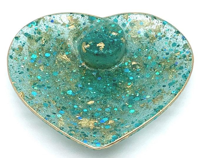 Trinket Dish - Turquoise Heart Bowl Dish  - Heart Shaped Bowl - Trinket Tray Dish - Jewelry Trinket Dish