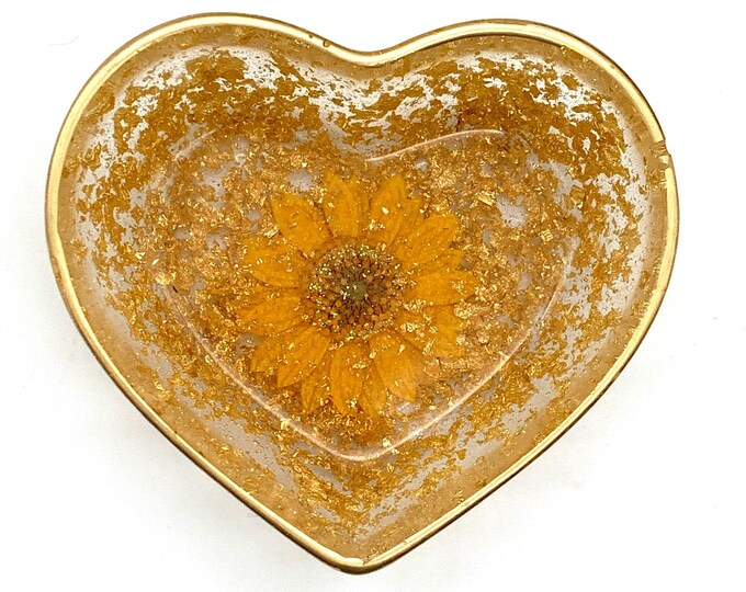 Yellow Gold Heart-Shaped Floral Resin Storage Box | Yellow Resin Box | Jewelry Storage | Gold Trinket Box | Gold Resin Dish | Yellow Decor
