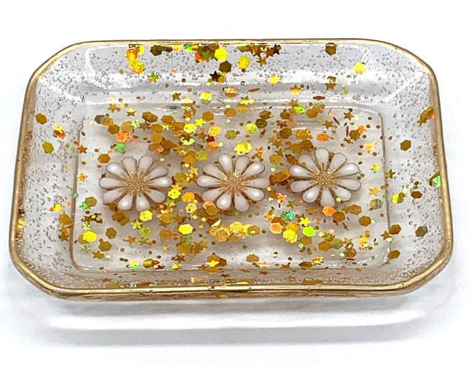 Trinket Dish - Rectangle Shaped Bowl - Trinket Tray Dish -  Gold Trinket Dish - Daisy Dish
