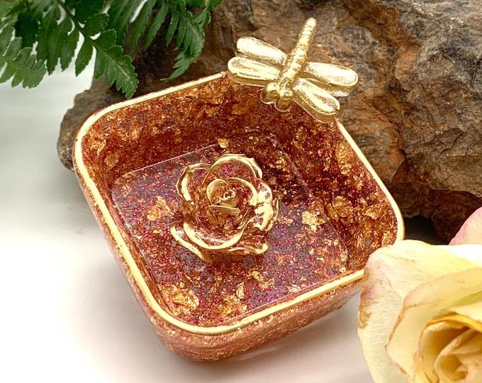 Trinket Dish | Gold Shaped Resin Storage Box | Iridescent Resin Box | Jewelry Storage | Rose Trinket Box | Gold Resin Dish |
