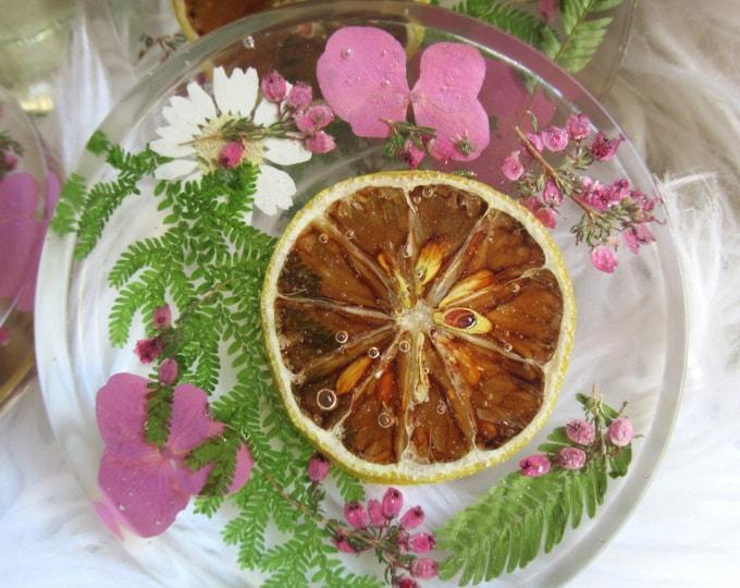 Flora Resin Cottagecore Coaster| Fruit Coasters | Unique Wedding Gift | Natural Decor | Resin Coaster | Sold Individually | Botanical