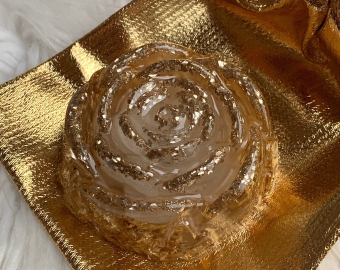 Paper Weight Resin | Paper Weight | Rose Paper Weight | Gold Paperweight | Rose Anniversary Gifts | Desk Decor Asthetic