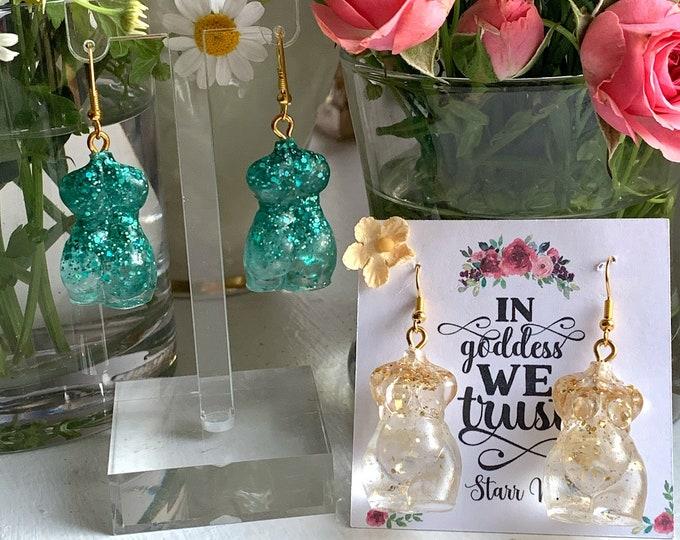Body Positive Earrings | Mini Goddess Earrings | Big Booty Girl | Plus Size Goddess Body | Witchcraft Jewelry | Resin Earrings | Dangles