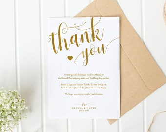 gold wedding thank you printable template thank you card etsy
