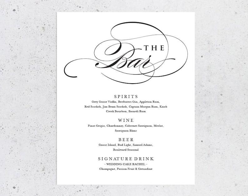Bar Sign Bar Menu Sign Wedding Sign  Editable Bar Menu Drinks Sign Drinks Printable Drinks Menu Sign Wedding Bar Menu ecc