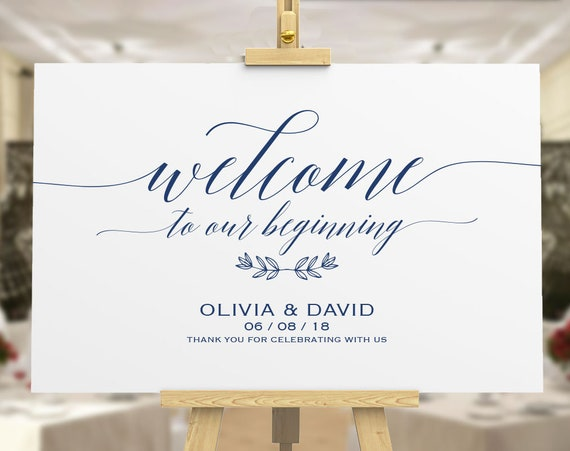 Navy Blue Welcome | Welcome to Our Wedding | Wedding Welcome Sign Template  |DIY Welcome Sign |printable welcome sign |Wedding Welcome Poster