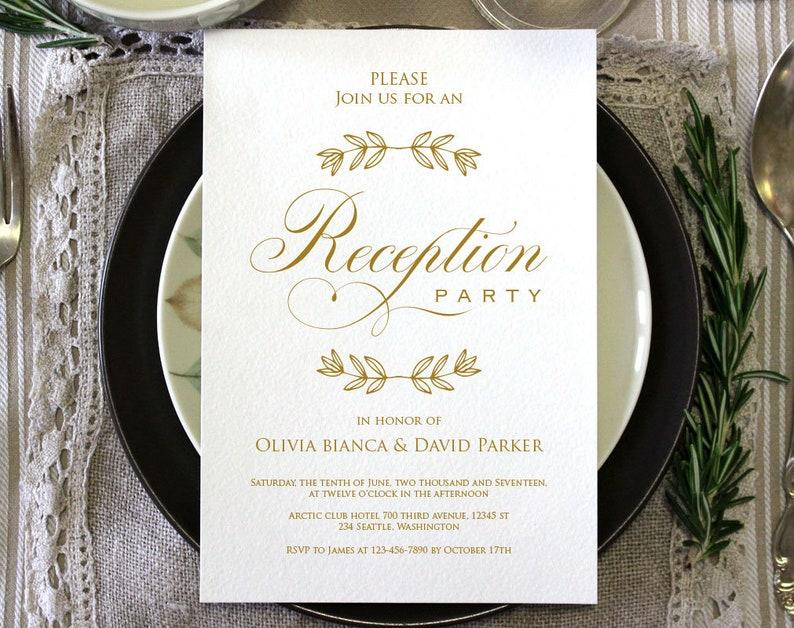 Printable Wedding Reception Invitation Template Evening Reception Invite Diy Formal Reception Card Editable Pdf Ecc 02