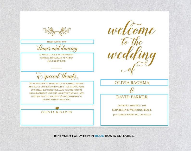 PDF Instant Download Gold Folded Wedding Program Printable ecc Program Template Folded Wedding Program Template