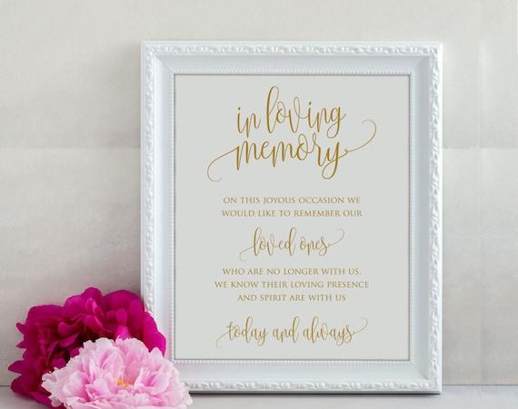 Loving Memory Sign | Memorial Sign | Wedding Memory Sign | In Loving Memory  | Memory Sign | Loved Ones Sign | Memorial Printable | ecc-11