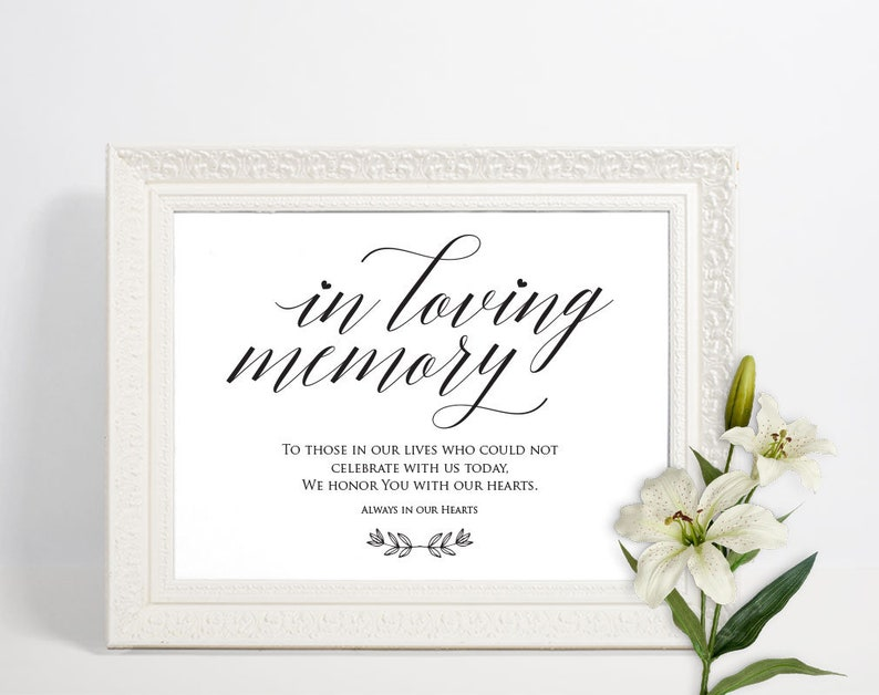 Loving Memory Sign | Memorial Sign | Wedding Memory Sign | In Loving Memory  | Memory Sign | Loved Ones Sign | Memorial Printable | ecc