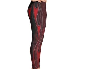 Flame Drawing Yoga Pants Red Hot Flames Traditional Flames Flame Art Full Length Leggings Red Flames Flames Hot Pants