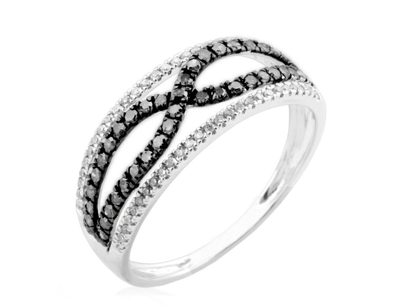 Gold Plated 925 Sterling Silver Black /& White Diamond Ring Criss Cross Ring Natural Diamond Fancy Ring Goldenstar 0.43ct
