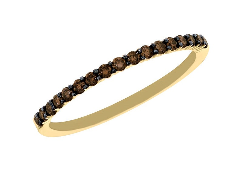 Prong Setting Band Brown Diamond Ring Brown Diamond Half Eternity Band Goldenstar 0.20ct Gold Plated 925 Sterling Silver