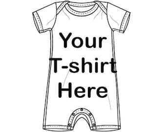 Custom Recycled T-shirt - Shortie Romper Baby Onesie