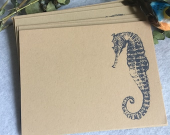 Seahorse Stationery, custom stationery, personalized stationery, flat cards, envelopes to match, note card, notecard