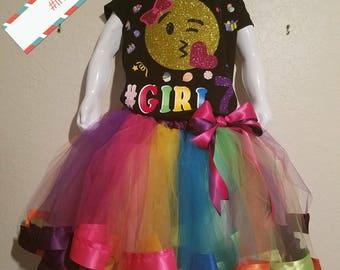 Emoji Birthday tutu outfit, girls emoji tutu set, emoji tutu, girls tutu, birthday  tutu set, girls birthday emoji,ribbon tutu