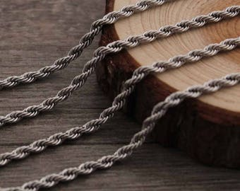 Wholesale 304 Stainless Steel 3mm French Rope Necklace Chain ,20ft Bulk