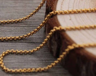 Wholesale 304 Stainless Steel 2mm Pearl Gold Plated Necklace Chain,10ft Bulk