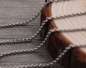 Wholesale 304 Stainless Steel 2MM  Pearl Necklace Chain,10ft Bulk