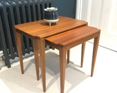 Guy Rogers Pair of Solid Teak Nesting Side Coffee Tables Minimal Scandinavian CAN DELIVER