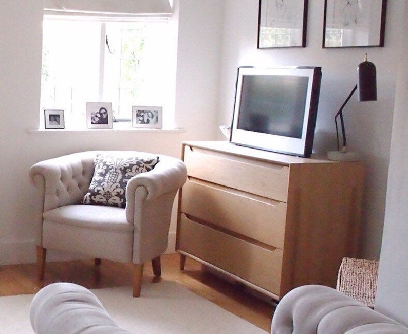 Scandi Ercol Chest Drawers for Nursery Living Room Barewood Solid Ash Wood  with Cone Legs