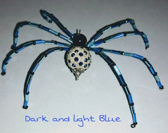 Handmade Spider/ light blue and dark blue w/blue rhinestone body.