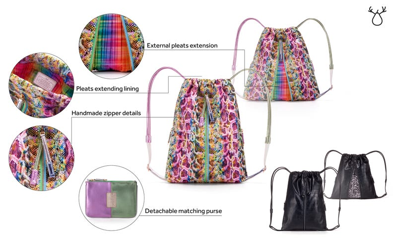Drawstring backpack Vegan rucksack Vegan backpack Faux leather bag Cute backpack Unique backpack Vegan handbag Women Colorful handbag MISHI