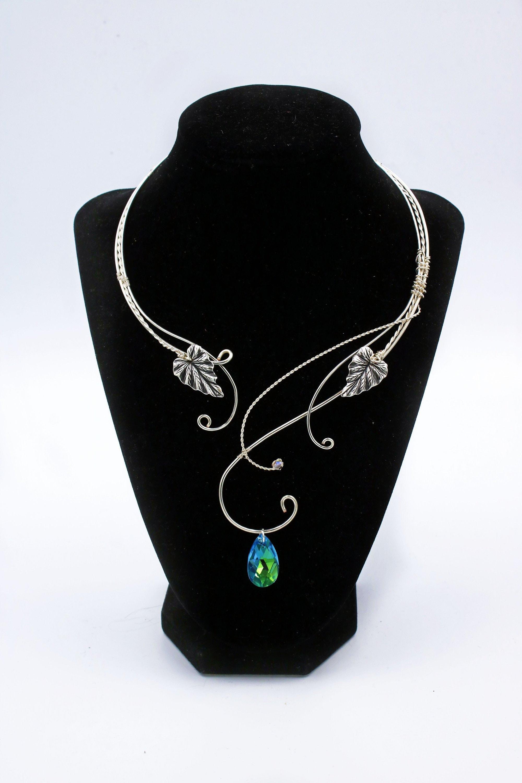 Crystal Clear AB Antiqued Silver Necklace Choker Filigree Elven Elf Elvish Celtic Victorian Edwardian Gothic Bridal Bride Wedding